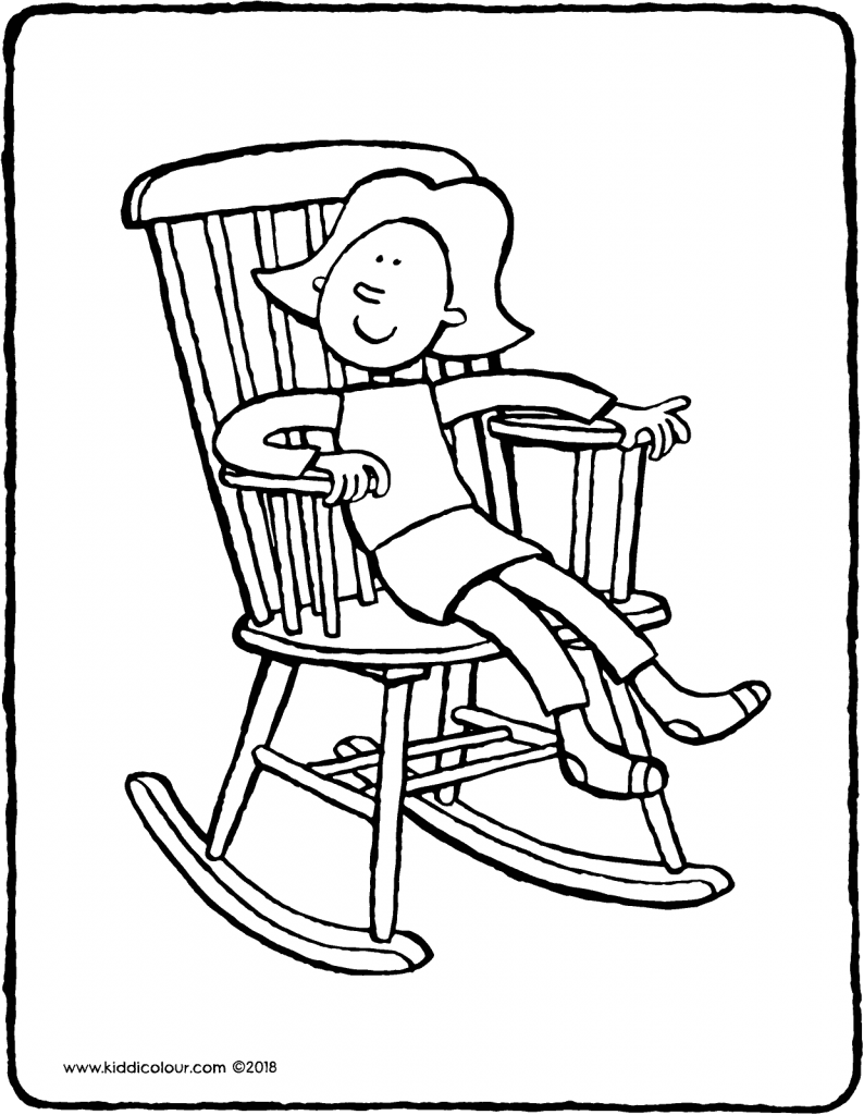 Emma in a rocking chair colouring page drawing picture 01V