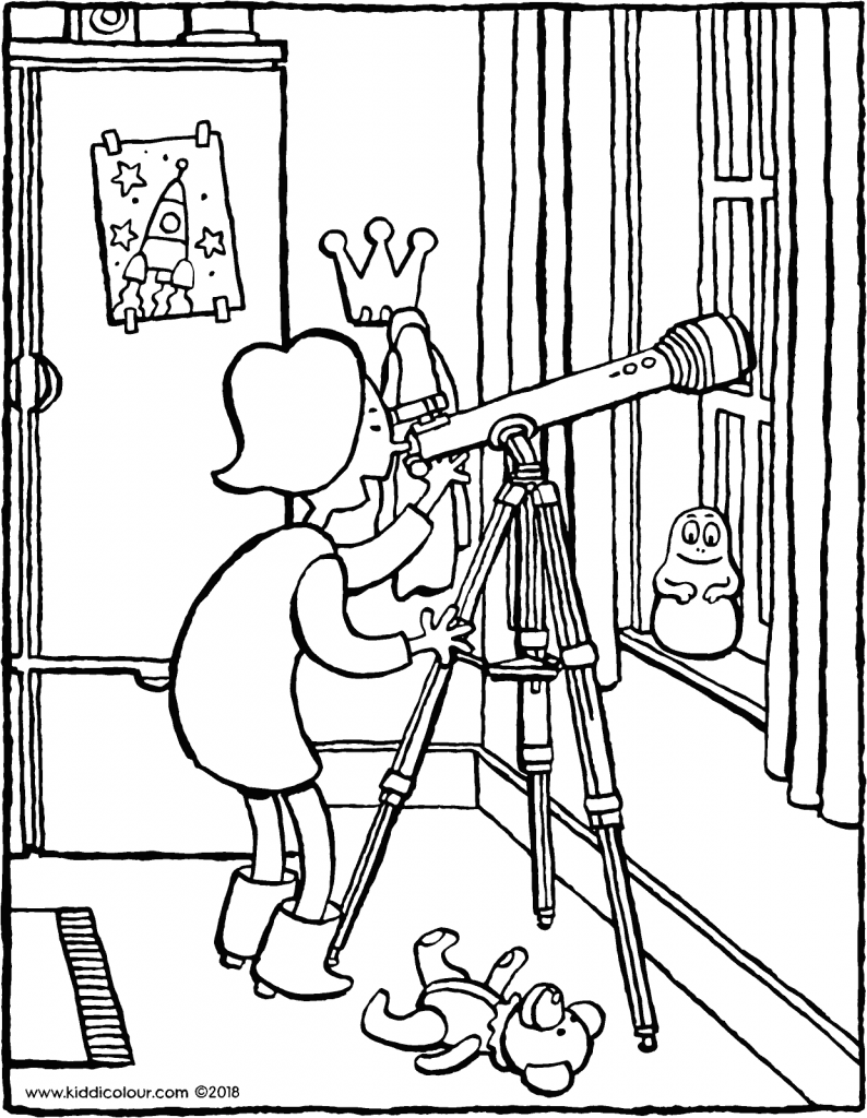 Emma looks at the stars through a telescope colouring page drawing picture 01V