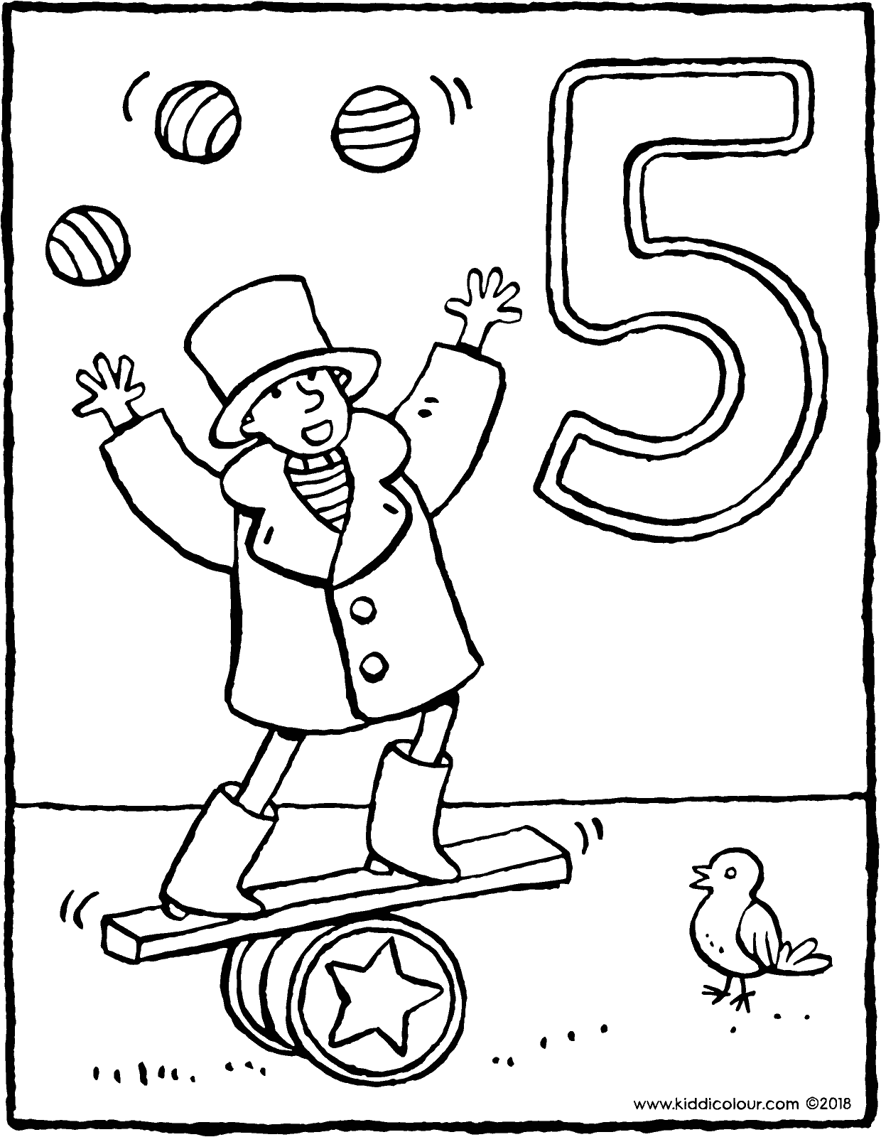 a five-year-old circus artist colouring page drawing picture 01V