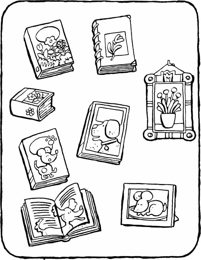arrange the books into groups colouring page drawing picture 01V