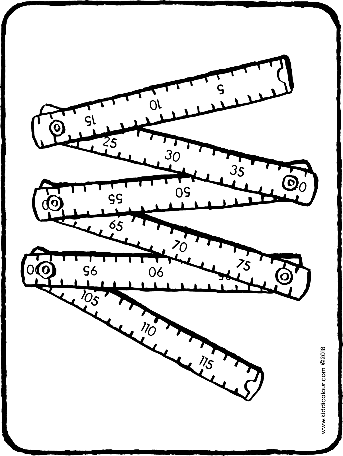 carpenter's wooden ruler colouring page drawing picture 01H