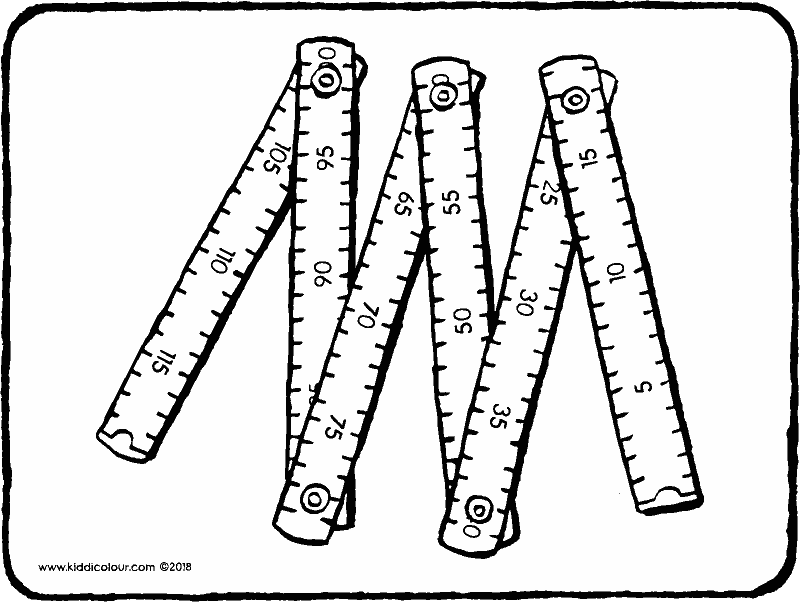 carpenter's wooden ruler colouring page drawing picture 01k