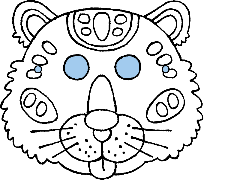 crafting a tiger mask colouring page drawing picture 01k