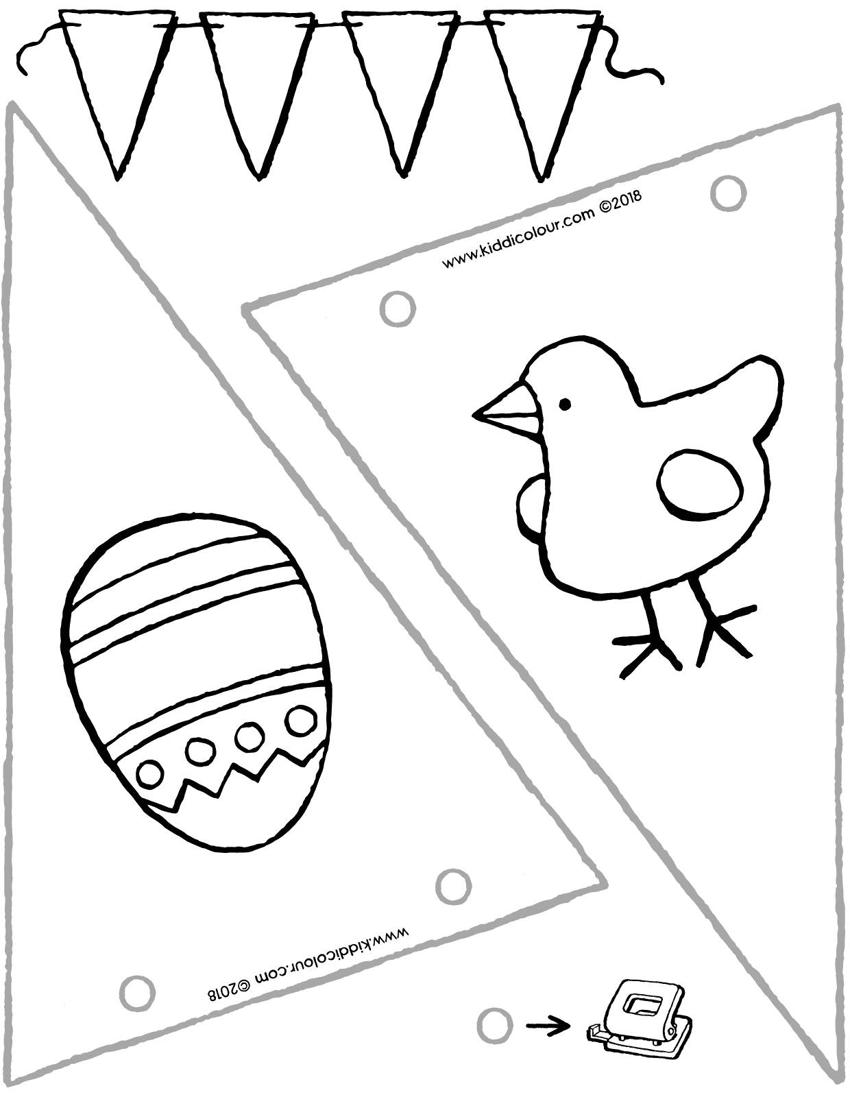 crafting an Easter bunting colouring page drawing picture 01V
