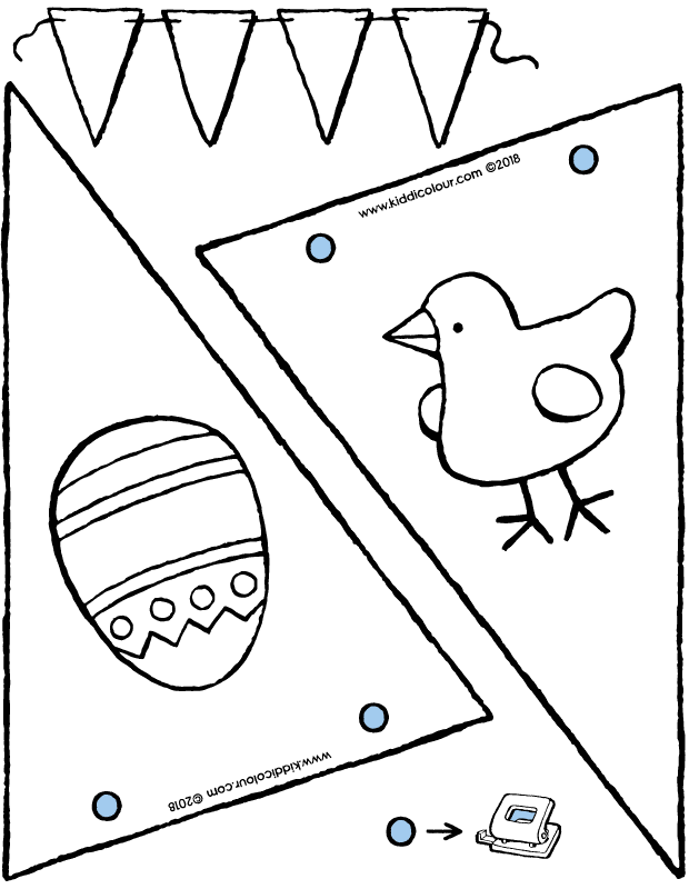 crafting an Easter bunting colouring page drawing picture 01k