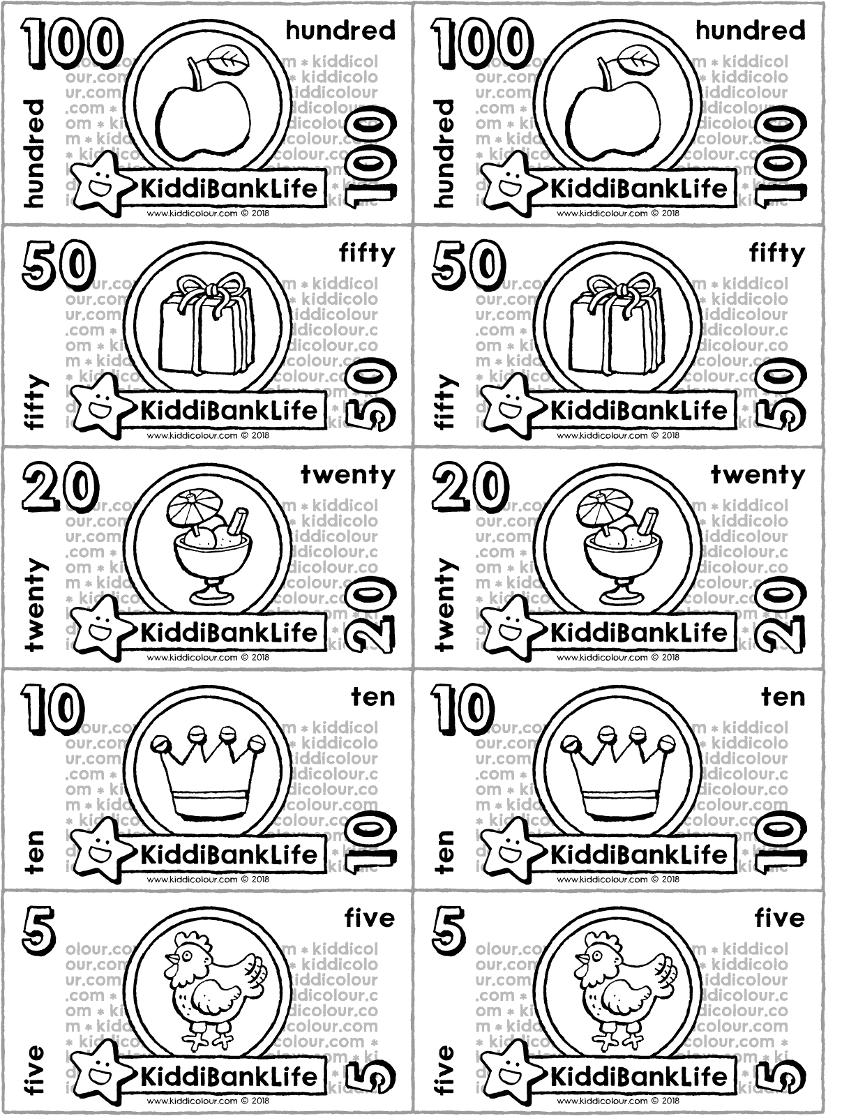crafting banknotes colouring page drawing picture 01V