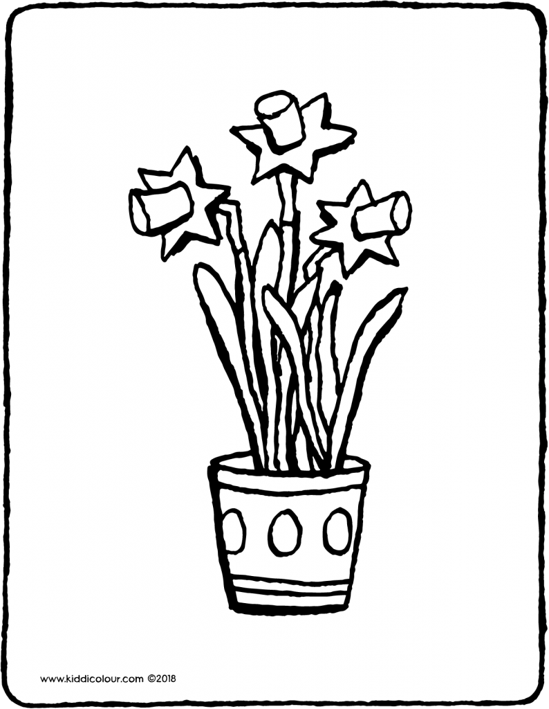 daffodils in a flower pot colouring page drawing picture 01V