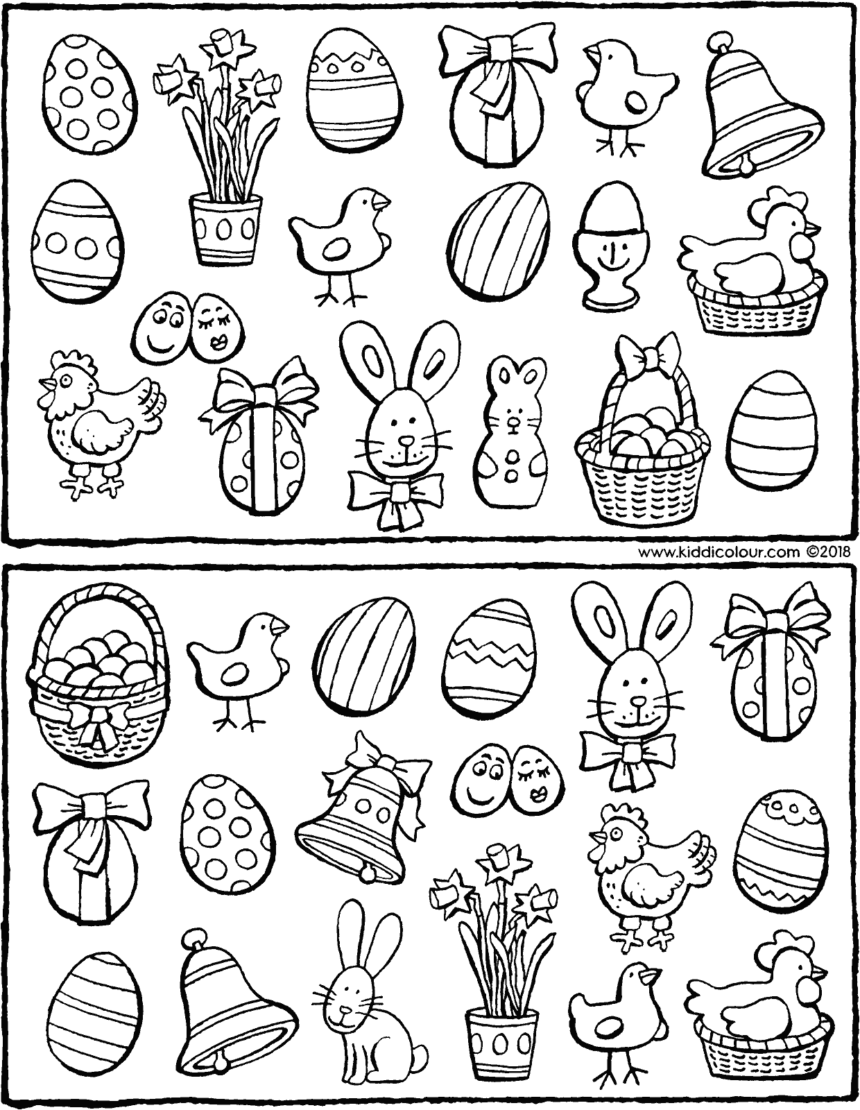 exercise spot the 11 objects that are the same colouring page drawing picture 01V