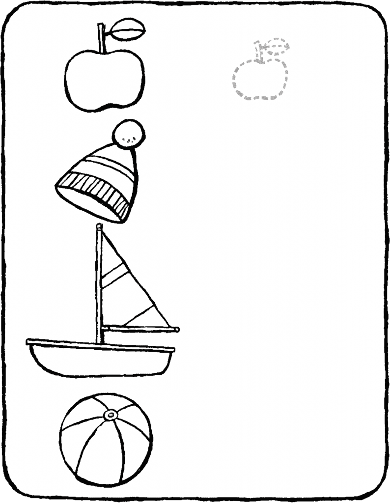 games observation draw a smaller version of the objects colouring page drawing picture 01V
