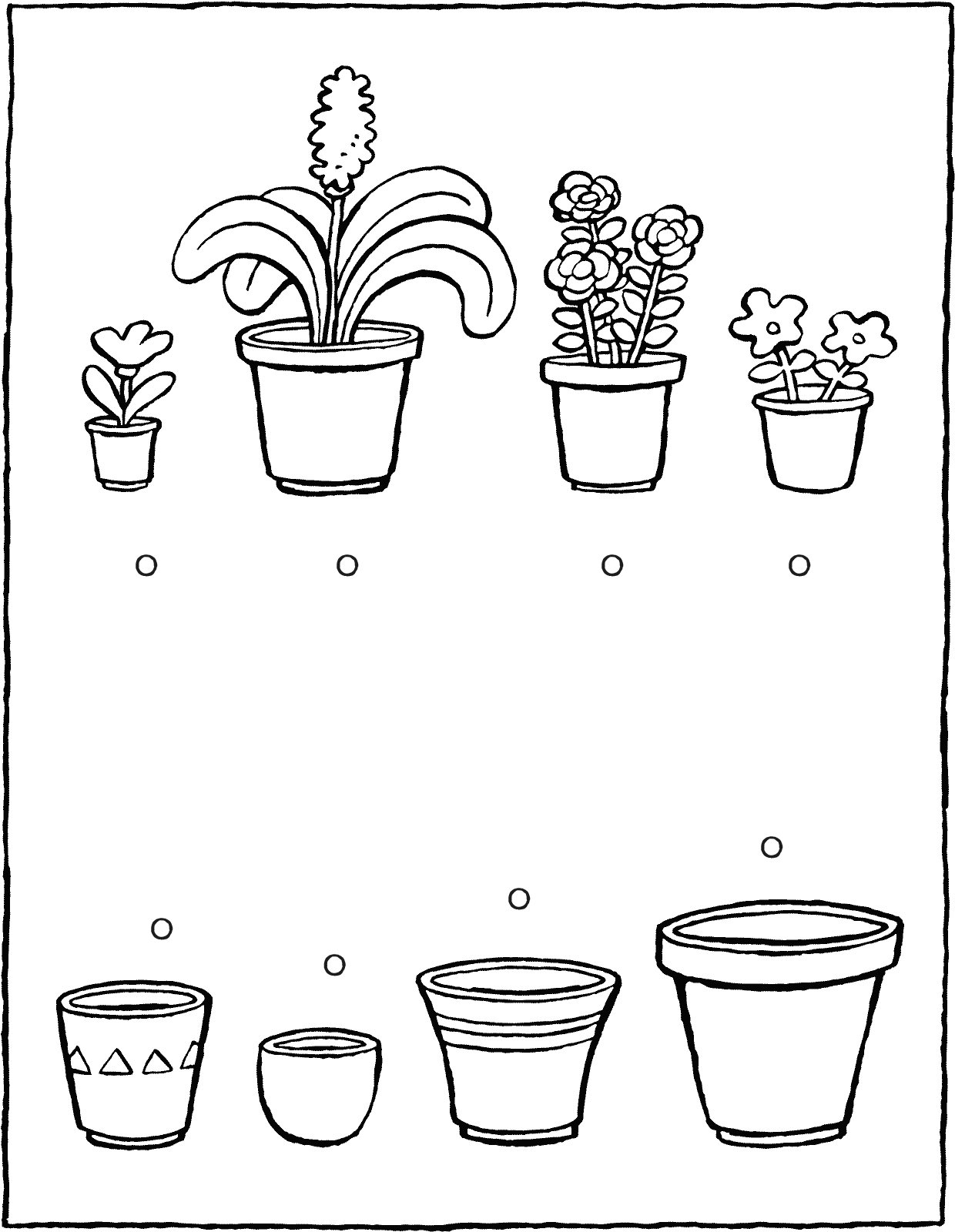 games observation which plant fits in which pot colouring page drawing picture 01V