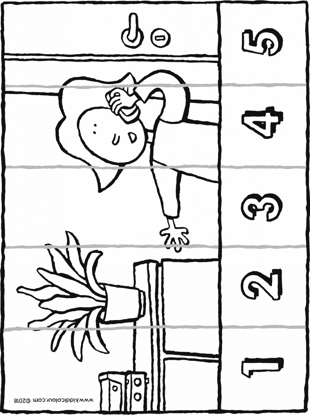 number sense from 1 to 5 Emma makes a phone call colouring page drawing picture 01H