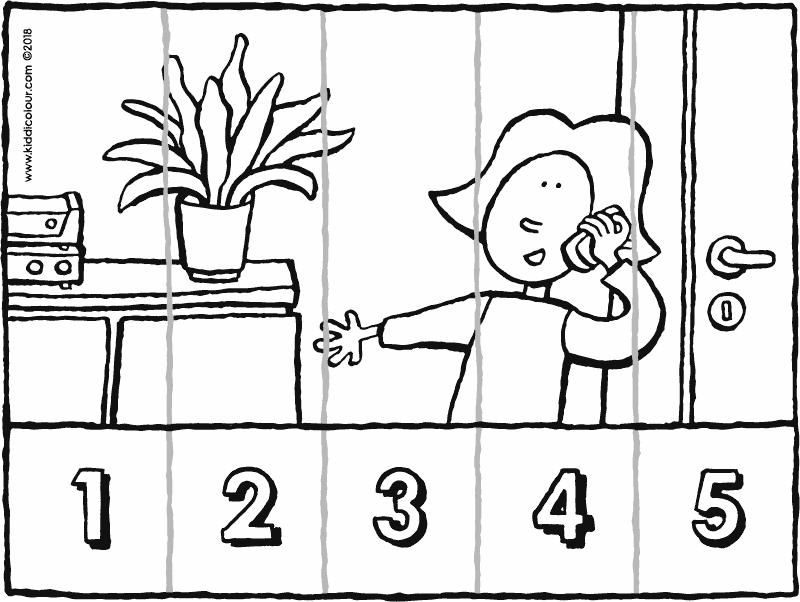 number sense from 1 to 5 Emma makes a phone call colouring page drawing picture 01k