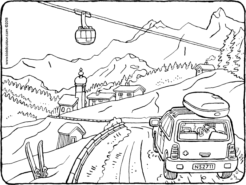 off in the car to go skiiing colouring page drawing picture 01k