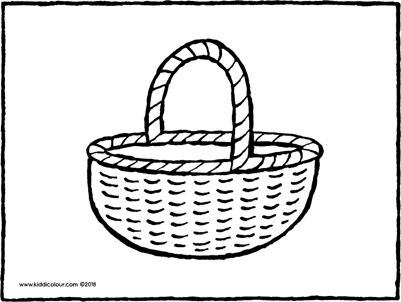 shopping basket colouring page drawing picture 01k