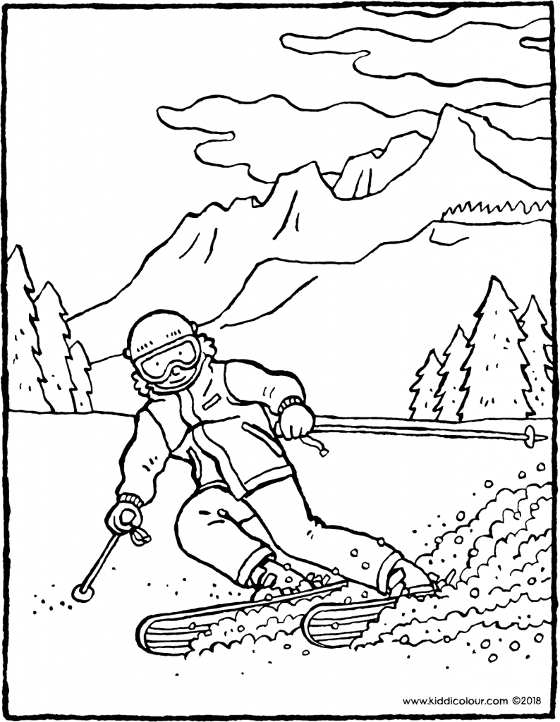 skiing in the mountains colouring page drawing picture 01V