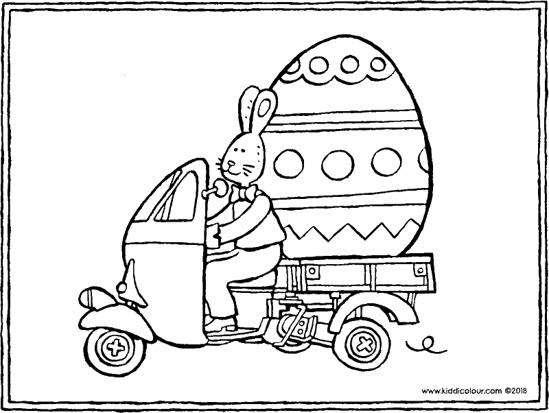 the Easter bunny driving around with a giant Easter egg colouring page drawing picture 01k