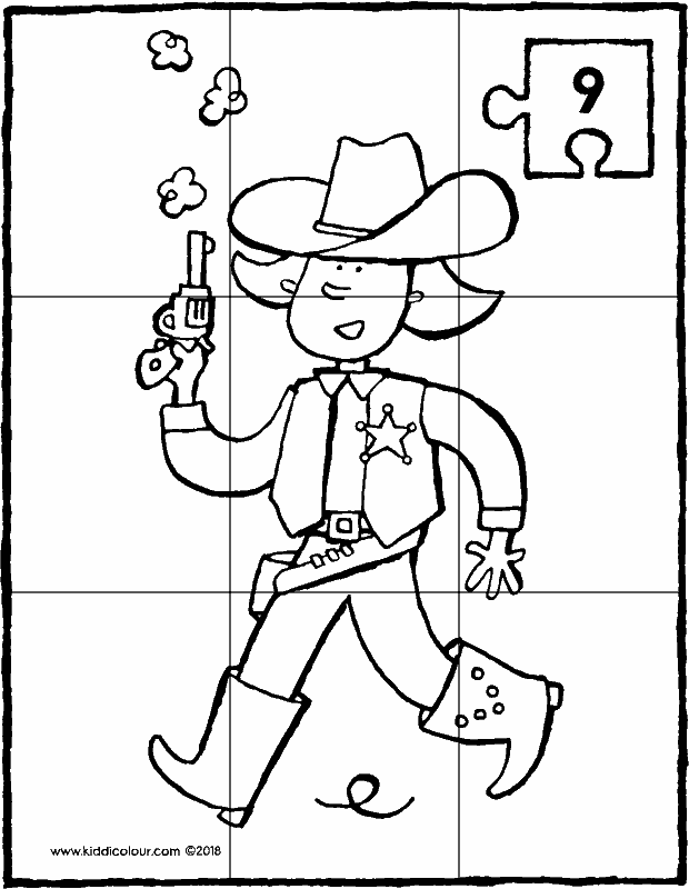 Emma cowboy puzzle 9 pieces colouring page drawing picture 01k