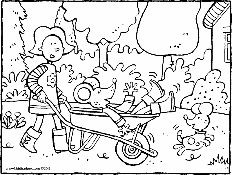 Emma gives Thomas a ride in the wheelbarrow colouring page drawing picture 01k