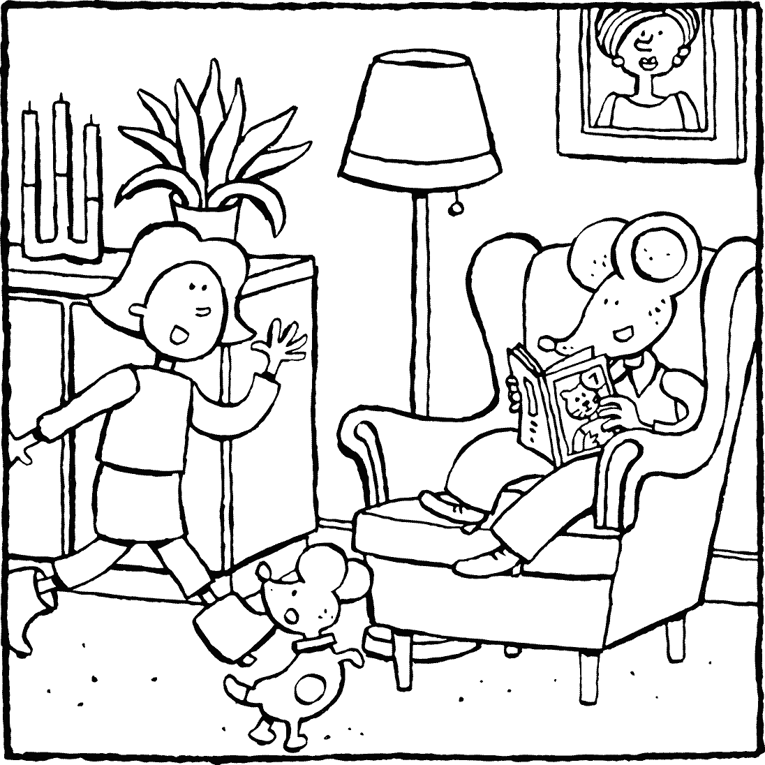 Emma goes to Thomas colouring page drawing picture 01k