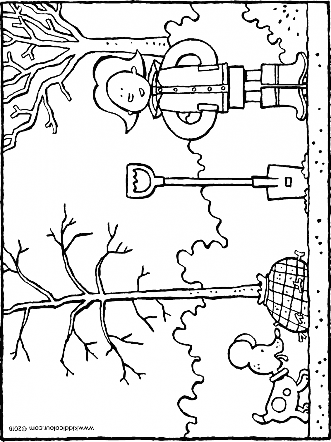 Emma plants a tree colouring page drawing picture 01H