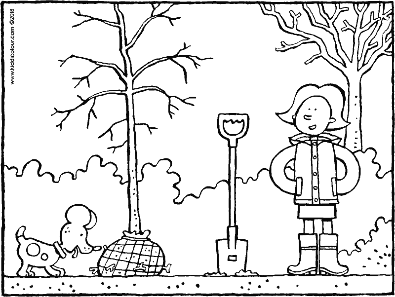 Emma plants a tree colouring page drawing picture 01k