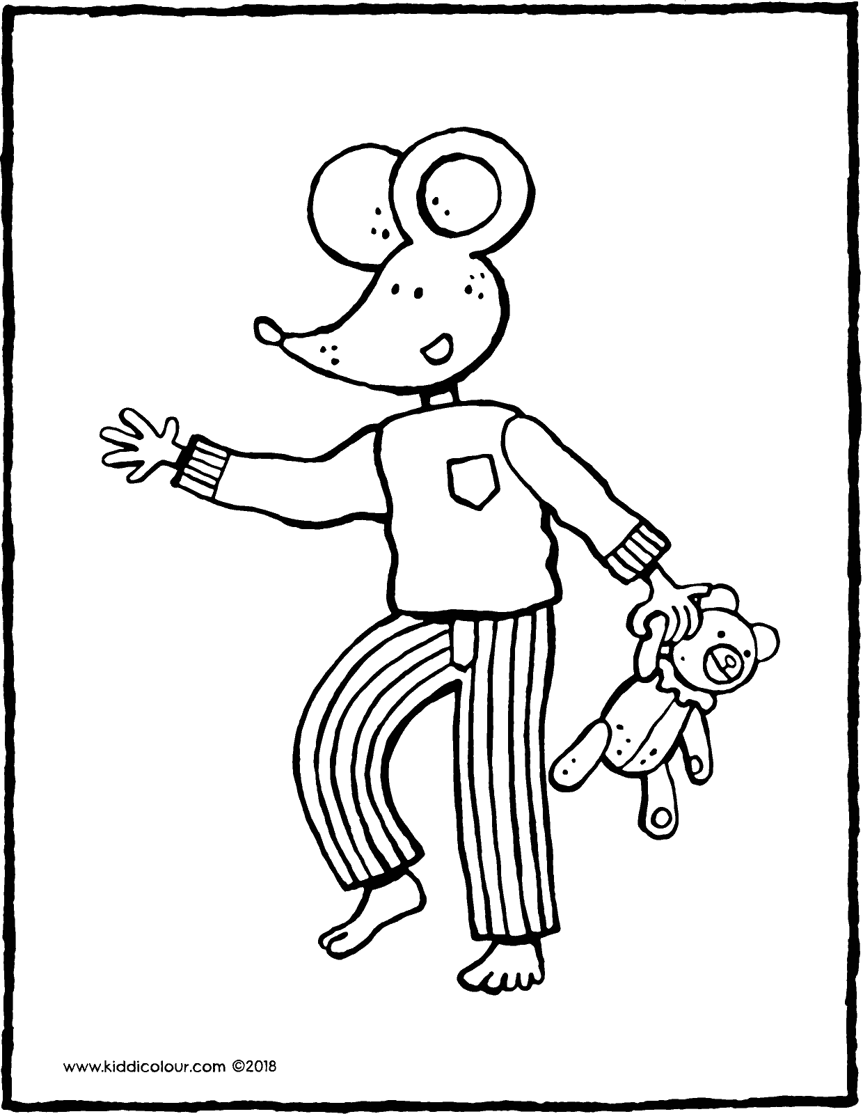 Thomas wearing pyjamas and a teddybear colouring page drawing picture 01V