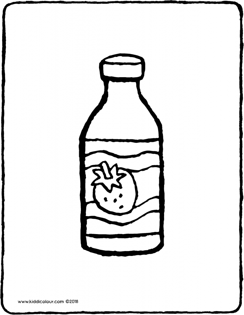 a bottle of drinking yogurt colouring page drawing picture 01V