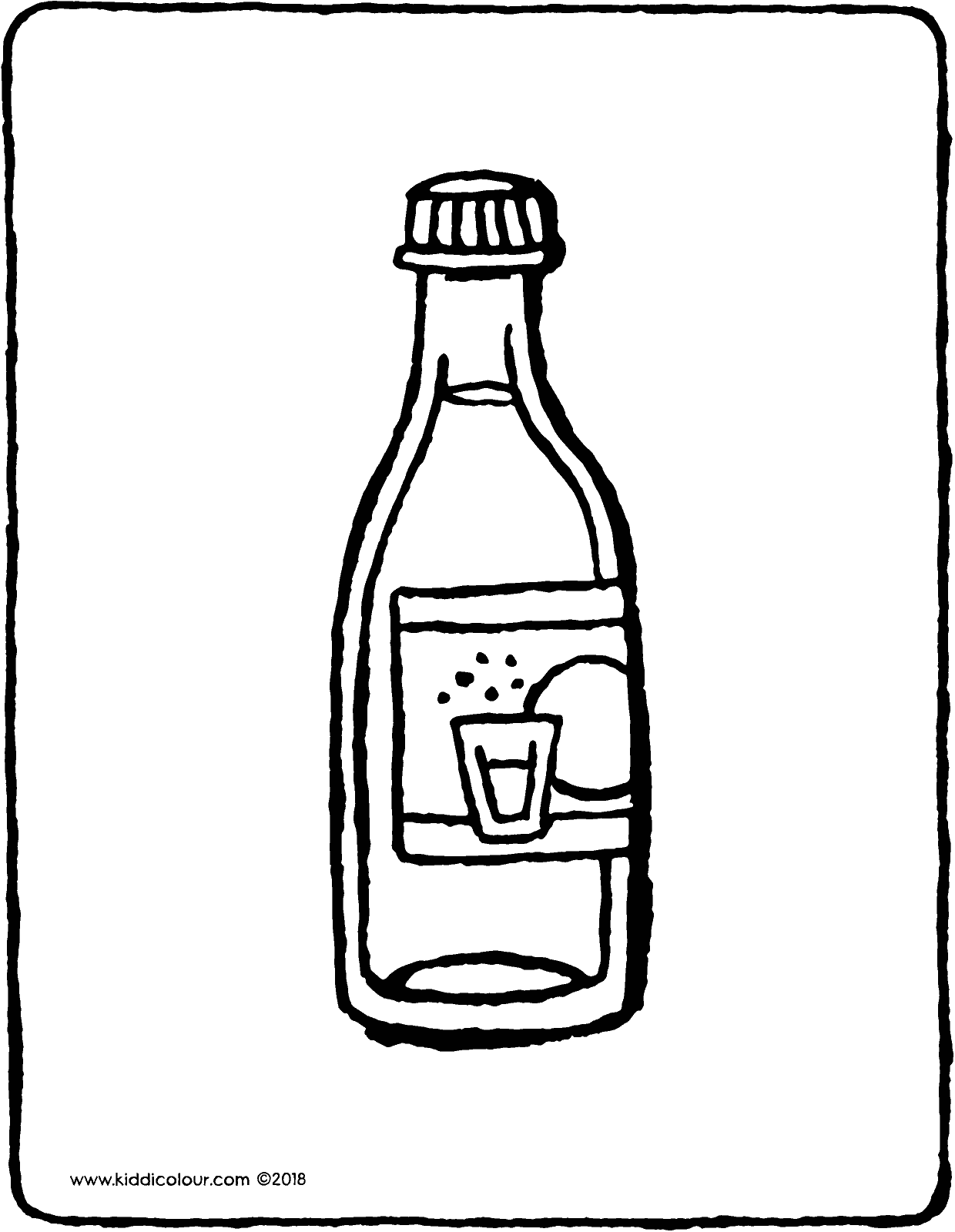 a bottle of sparkling water colouring page drawing picture 01V