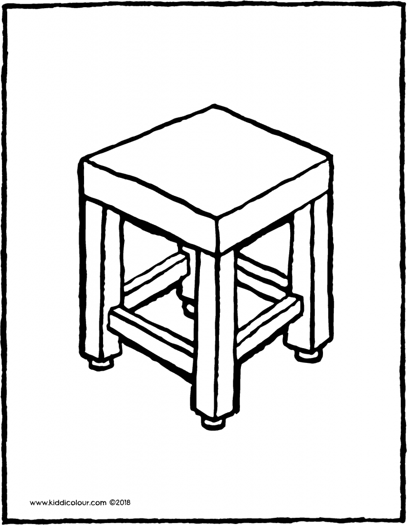 a stool to sit on colouring page drawing picture 01V