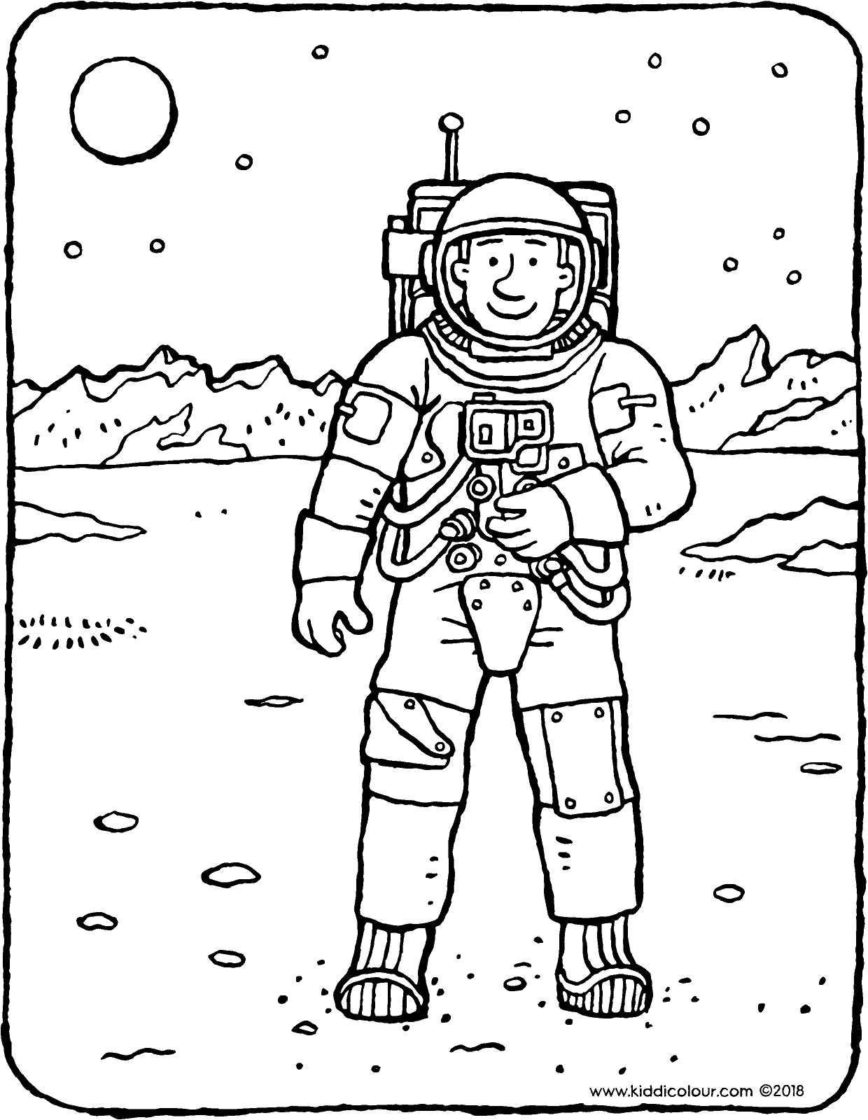astronaut colouring page drawing picture 01V