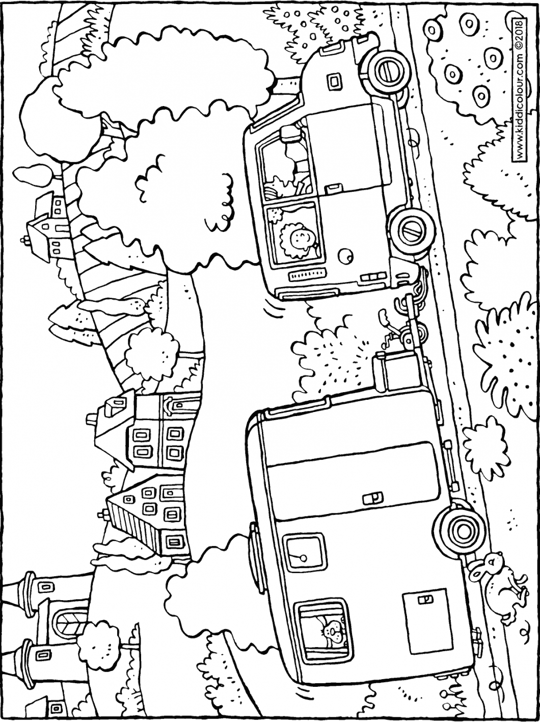 car with caravan colouring page drawing picture 01H