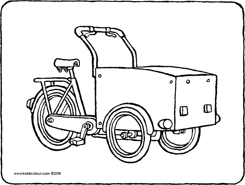 cargo bike colouring page drawing picture 01K