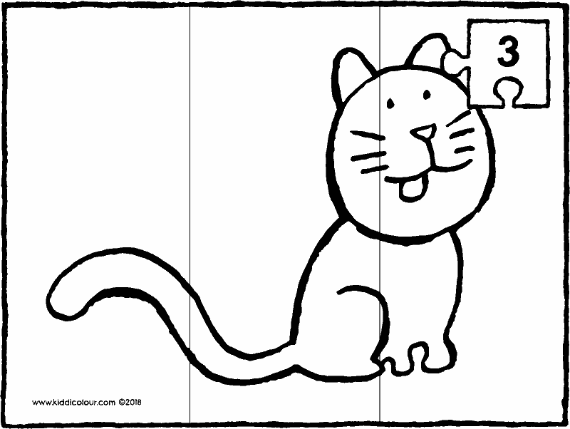 cat puzzle 3 pieces colouring page drawing picture 01k