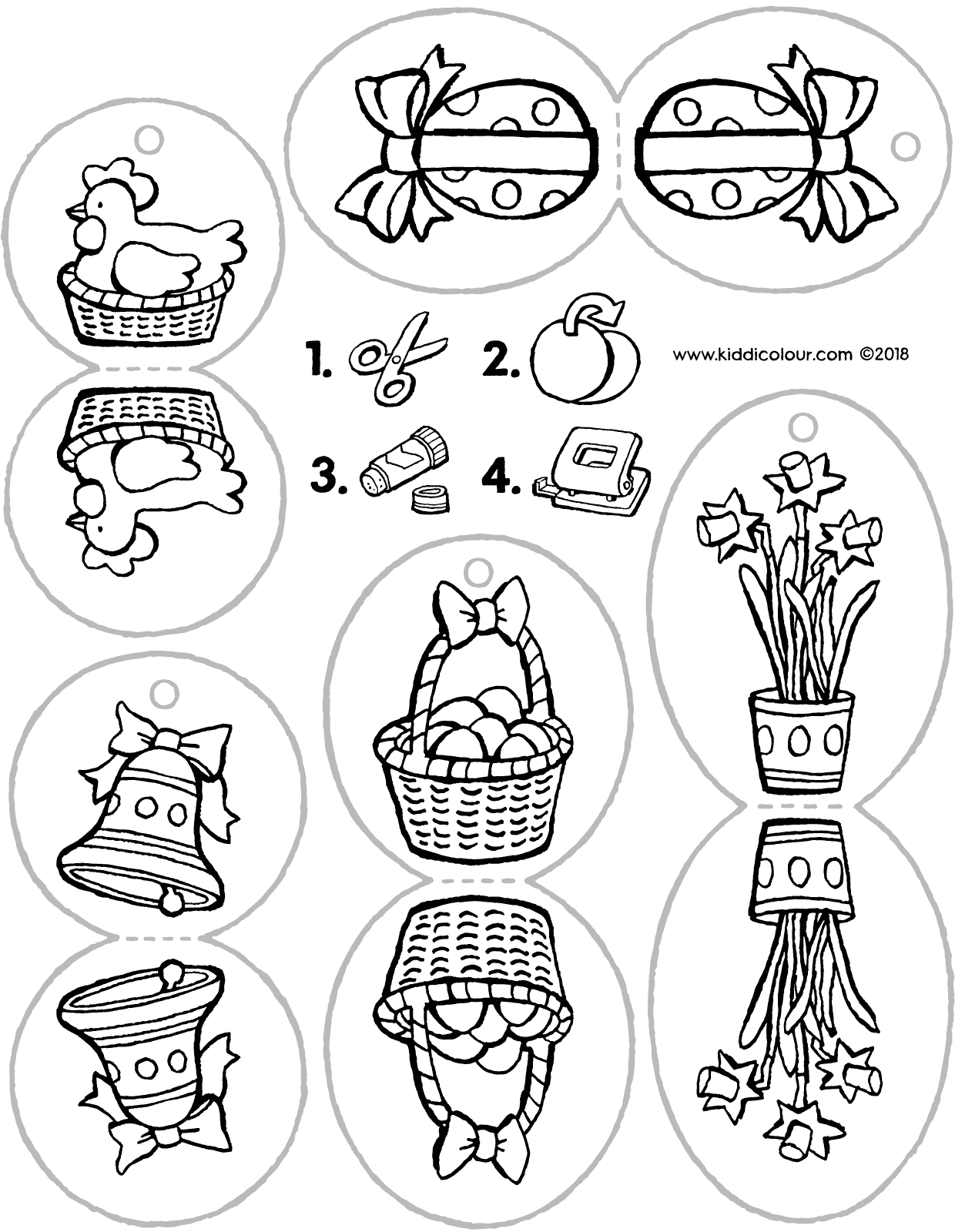 crafting decorations for the Easter tree colouring page drawing picture 01V