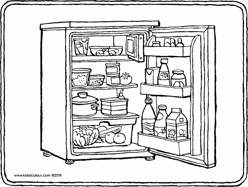 fridge colouring page drawing picture 01k