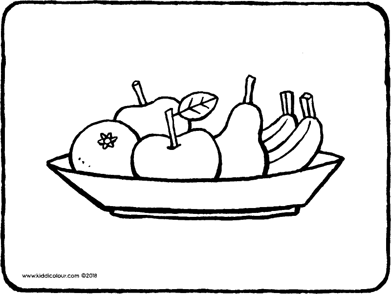 fruit bowl colouring page drawing picture 01k