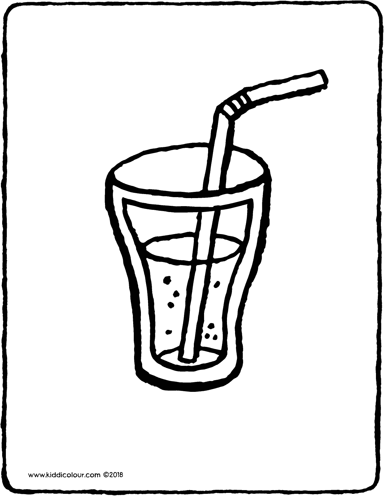glass of lemonade with a straw colouring page drawing picture 01V