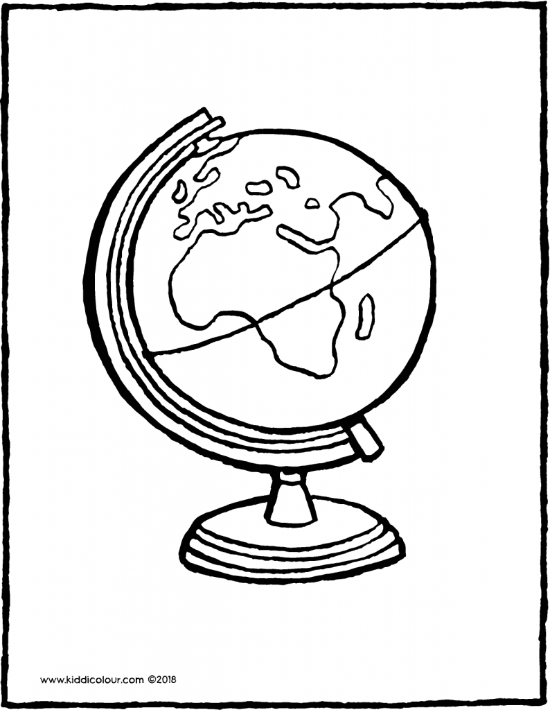 globe colouring page drawing picture 01V