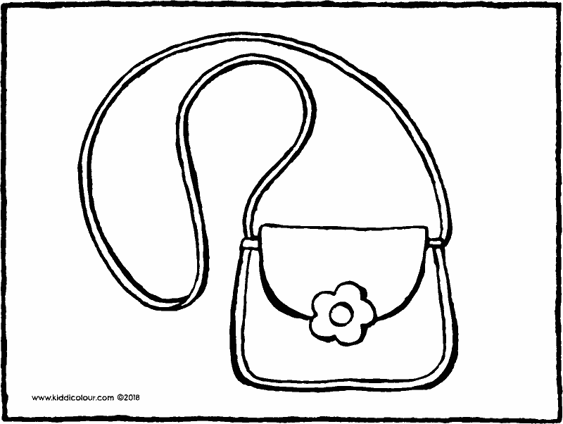 handbag colouring page drawing picture 01k