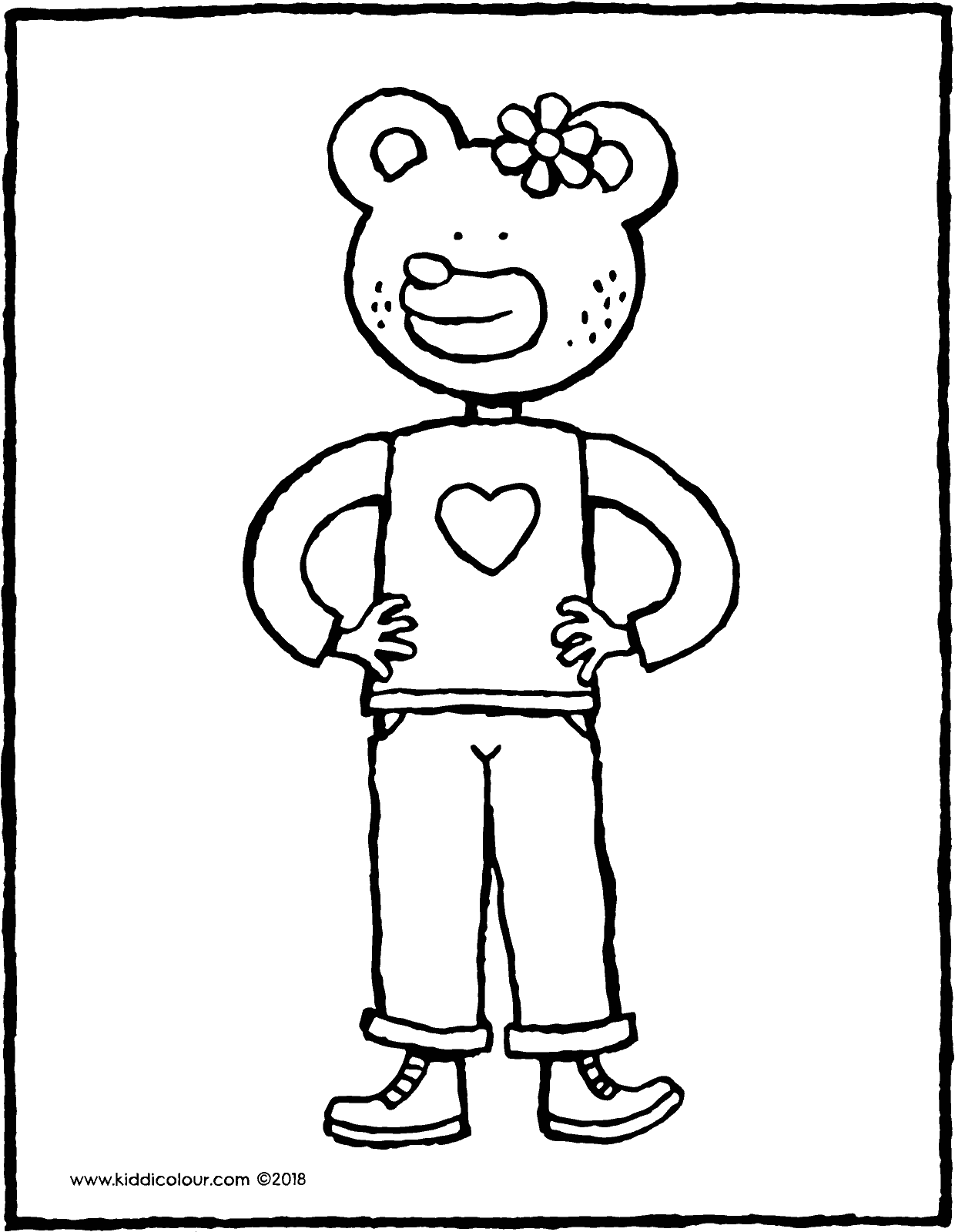 here is Amira bear colouring page drawing picture 01V