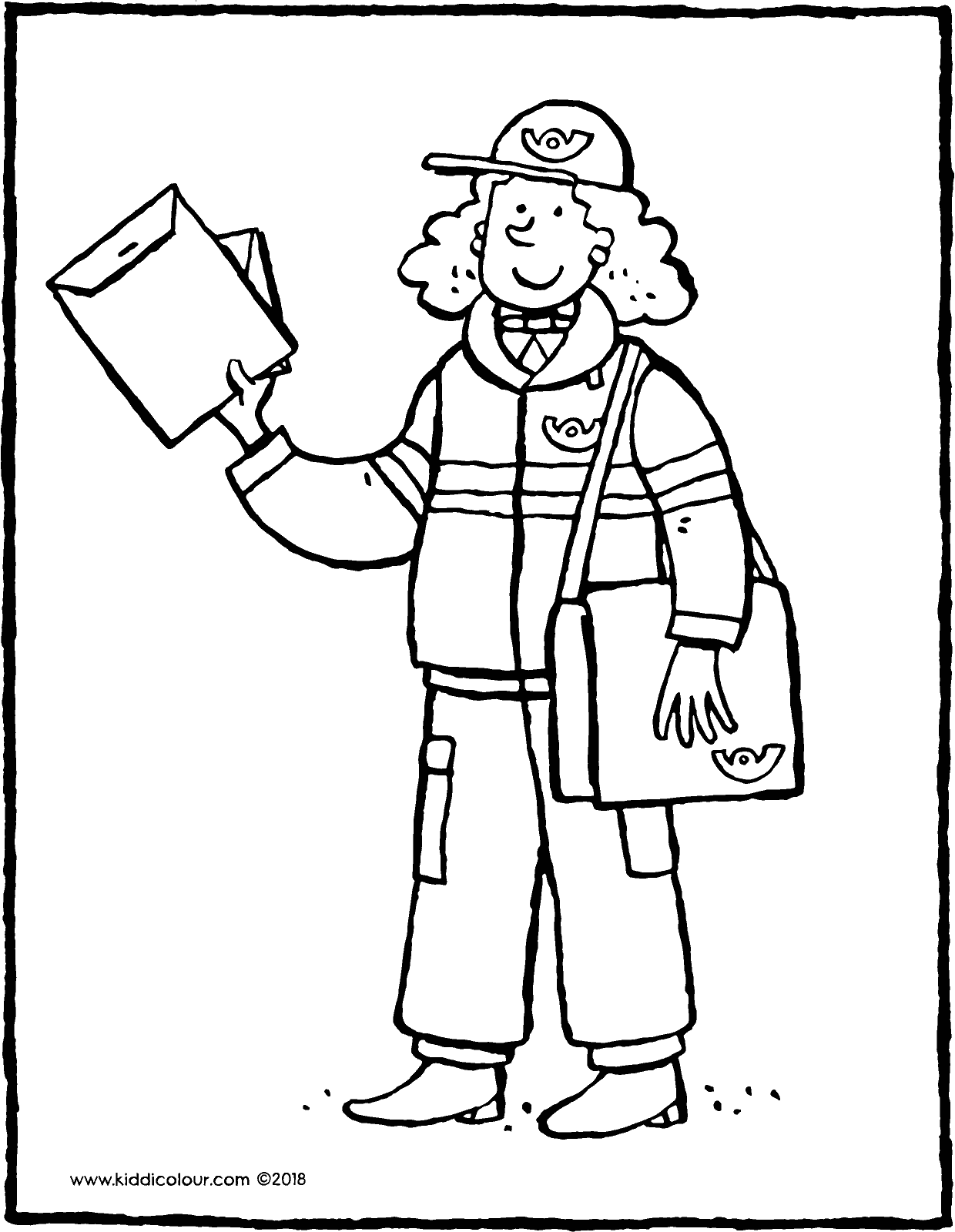 le facteur distribue le courrier coloriage dessin image à colorier 01V