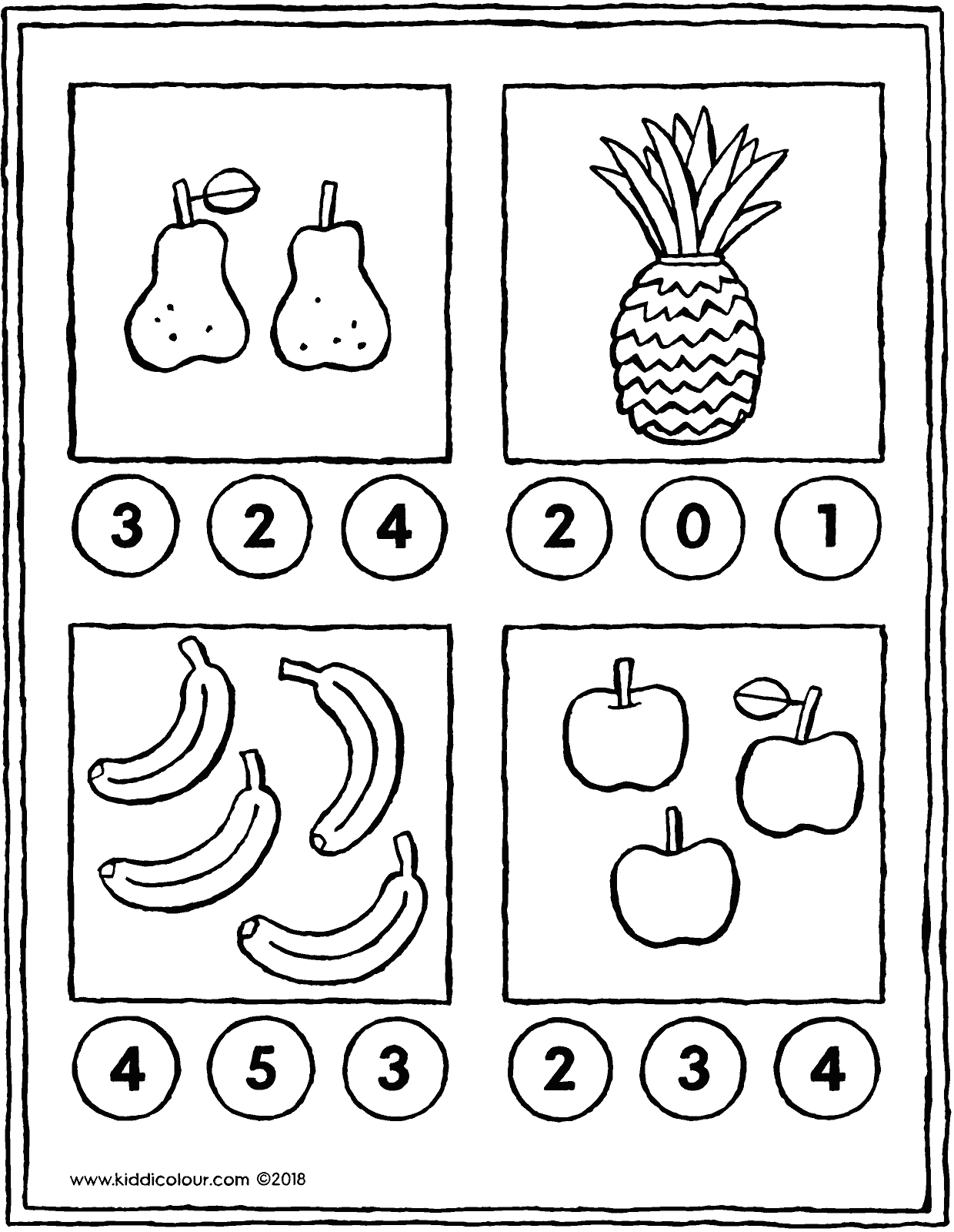 math game count the pieces of fruit colouring page drawing picture 01V