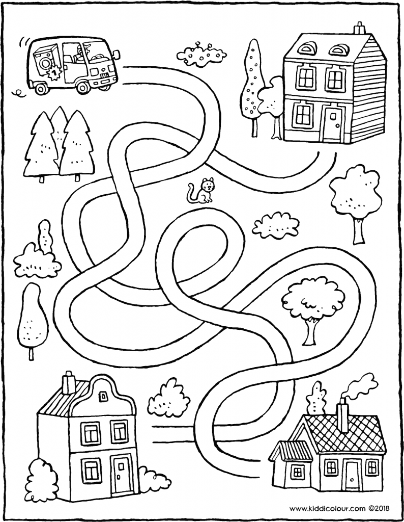 observation find the correct route for the delivery van colouring page drawing picture 01V