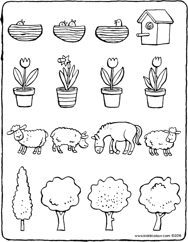 observation find the odd one out colouring page drawing picture 01V