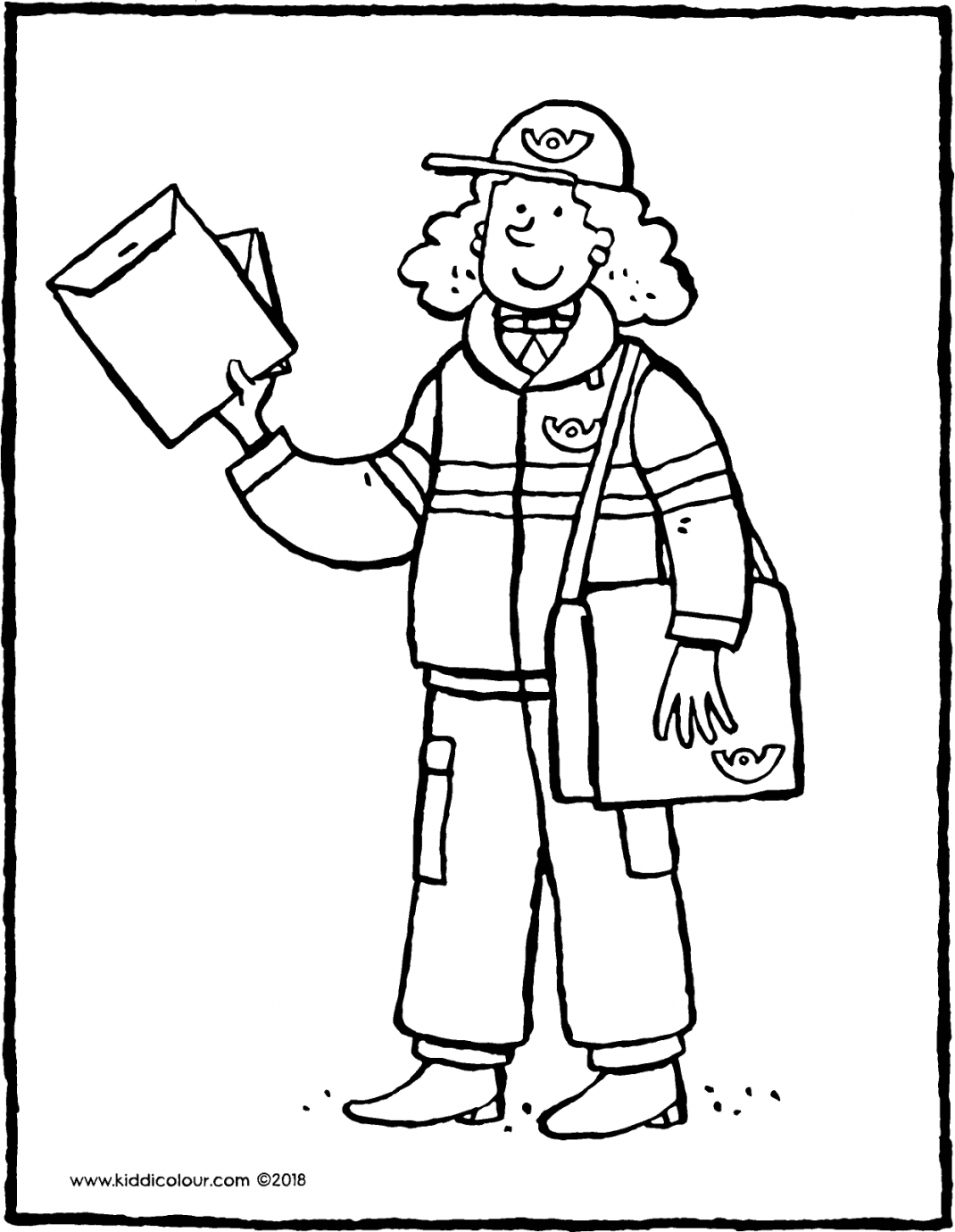 postman delivering the post colouring page drawing picture 01H