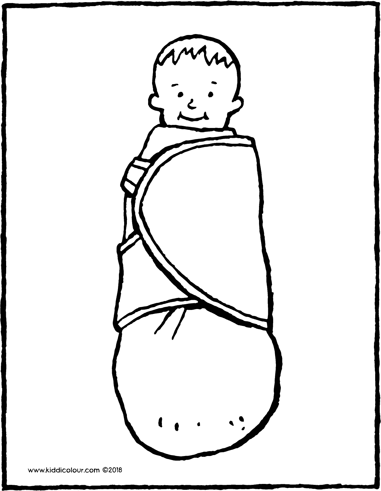 swaddled baby colouring page drawing picture 01V