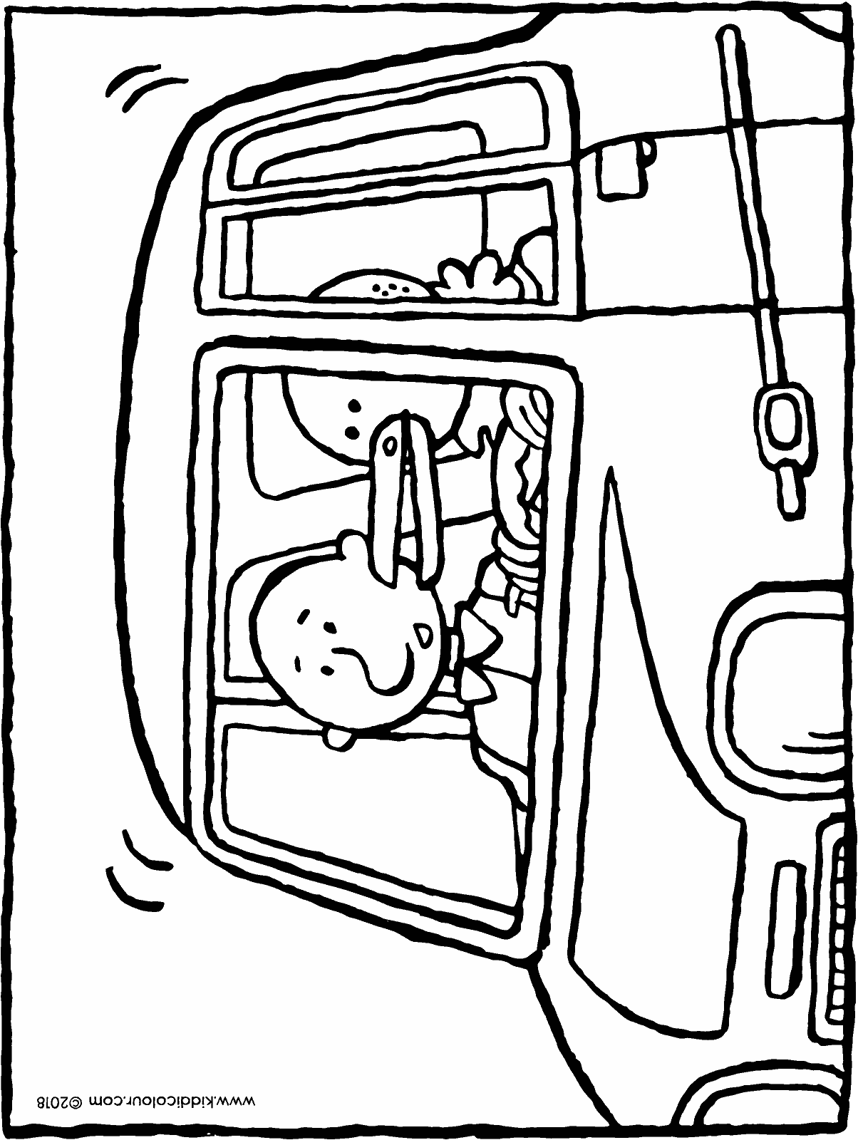 together in a small car colouring page drawing picture 01H