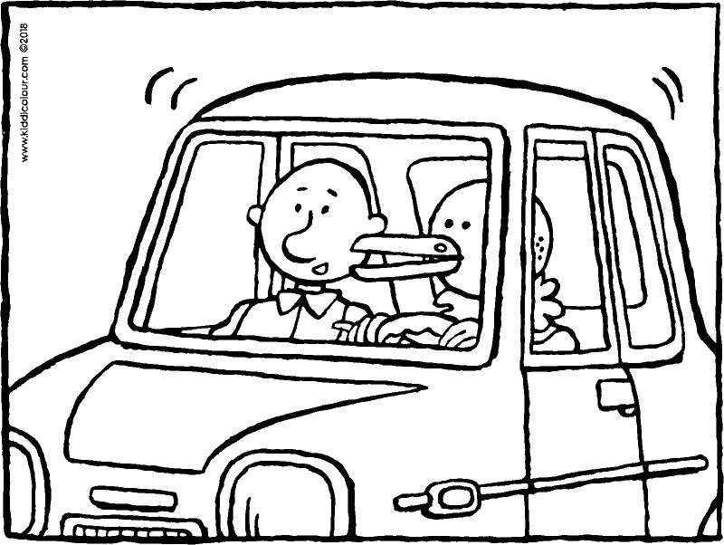 together in a small car colouring page drawing picture 01k