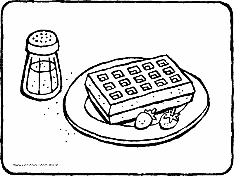 waffle with icing sugar and strawberries colouring page drawing picture 01k