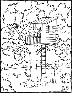 Free Tree House Coloring Pages - Coloring Home | 300x233